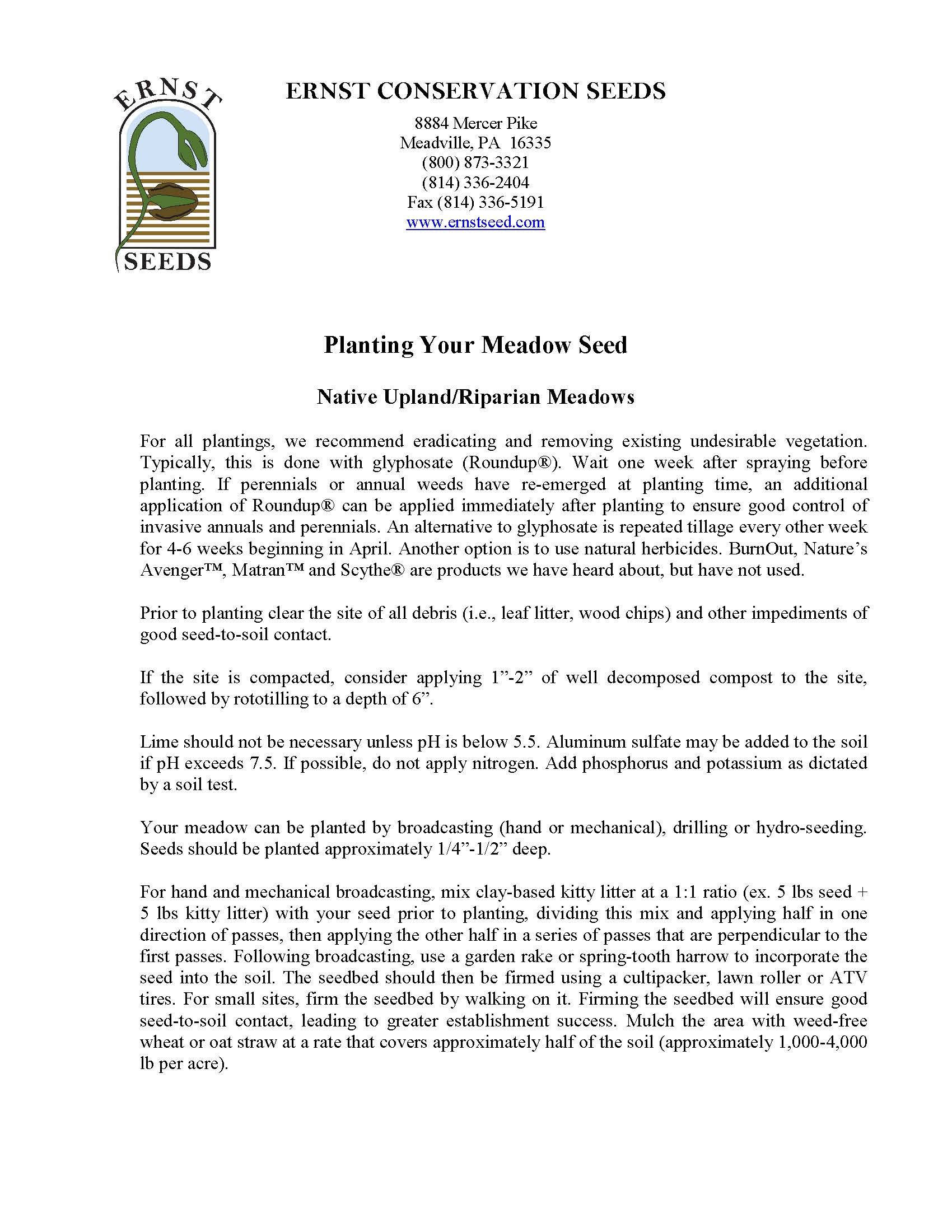 Planting Your Meadow Seed Guide Page 1 Image